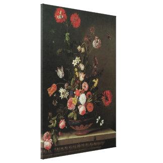 Blommar barockt blom- stilleben för vintage i vas canvastryck