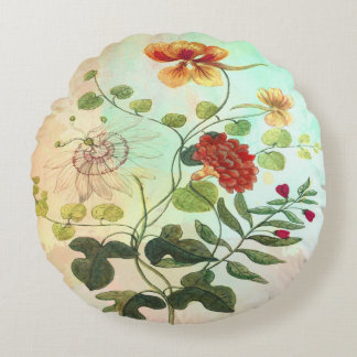 Blommar den blom- botaniska illustrationen för rund kudde