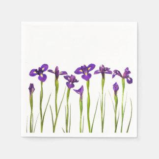 Blommar den färgrika irisen för den purpurfärgade papper servetter