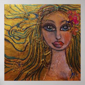 Blommar den stora synade flickan för Folk konst de Poster