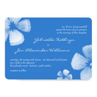 Blommar den tropiska vattenfärgen för blått 12,7 x 17,8 cm inbjudningskort