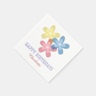 Blommar födelsedag pappersservetter
