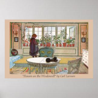 Blommar för Carl Larsson på för fönsterbrädan tr Print