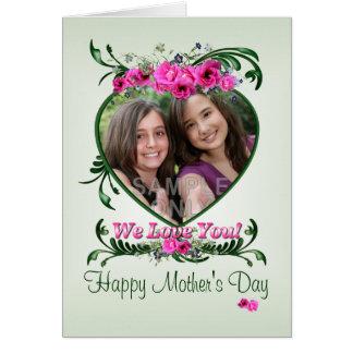 Blommar för kärlek för rosor för mors dagfotokort hälsningskort
