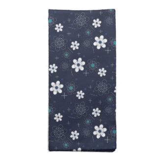 Blommar retro blått för trasaservetter rockabilly tygservett