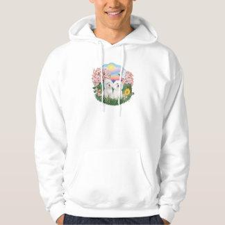 Blommar - två Bichon Frise Tröja Med Luva