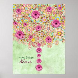 Blommarrosan blommar träd - födelsedag poster