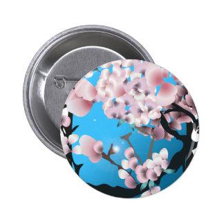 Blommarvår sakura. Elegant blommasilhouette. Standard Knapp Rund 5.7 Cm