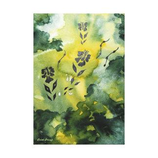 BlommaSilhouette i smaragd Canvastryck