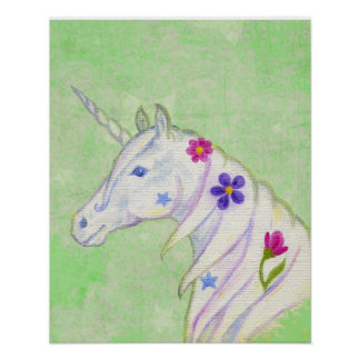 BlommaUnicorn på grönt konsttryck Poster