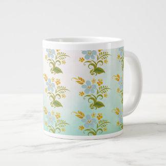 Blommigt för benporslingröntblått jumbo mugg