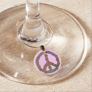 Blommigt för blommafredsteckensymbol berlock vinglas