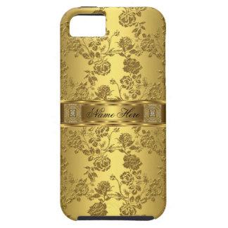 blommigt för elegant flott faux för iPhone guld- iPhone 5 Fodral