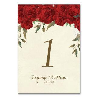 Blommigt för elfenben för bröllopbordsnummerkort bordsnummer