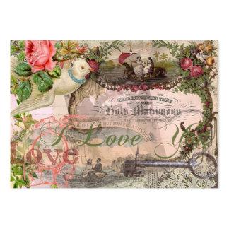 Blommigt för giftermålCollagevintage bröllop Set Av Breda Visitkort