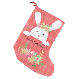 Blommigt för julstjärna för vitkanin rosa guld- liten julstrumpa