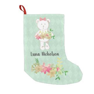 Blommigt för julstjärna för vitnalle rosa guld- liten julstrumpa