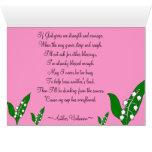 Blommigt för kärlektrofamilj & gullig rosa nyckelp hälsningskort