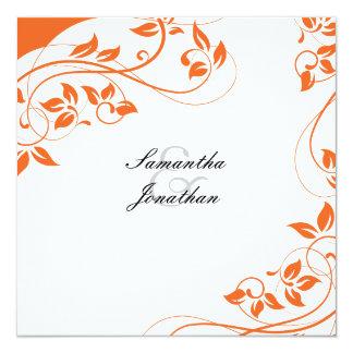 Blommigt för orange & för vit för bröllopinbjudan fyrkantigt 13,3 cm inbjudningskort
