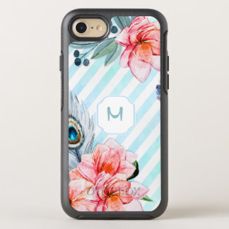 Blommigt för rand för Boho fjädervattenfärg OtterBox Symmetry iPhone 7 Skal