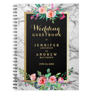 Blommigt för rosor för marmor för bröllopGuestbook Spiral Anteckningsbok