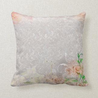 Blommigt för snöre för rökiga persikaro damastast kudde