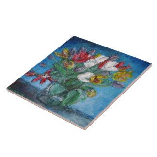 Blommigt för tulpanblommavas kakelplatta