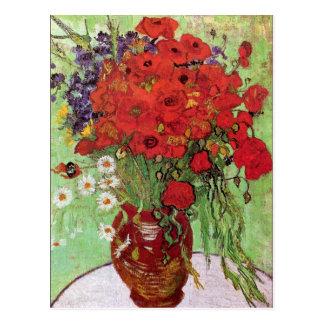 Blommigt för Van Gogh röd vallmo- och daisyvintage Vykort