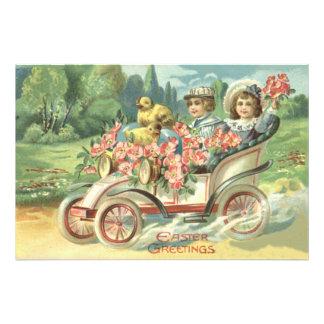 Blommigt för vintage car för barnpåskchick fototryck