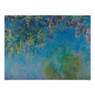 Blommigt GalleryHD för Claude Monet Wisteriakonst Fototryck