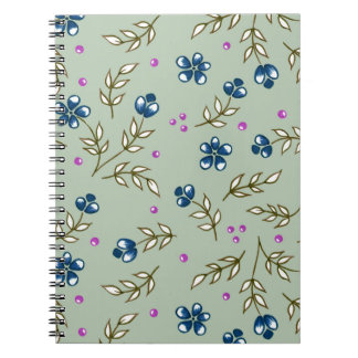 blommigt i blått anteckningsbok med spiral