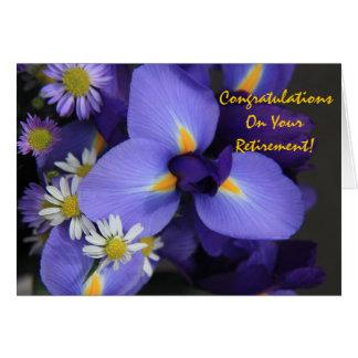 Blommigt, Iris och kortkortdaisy, pension Hälsningskort