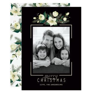 Blommigt- och gräsfotojulkort 12,7 x 17,8 cm inbjudningskort
