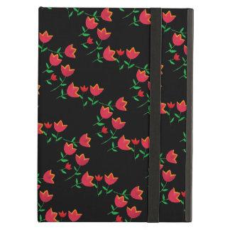 blommigt-themed röda tulpan iPad air fodral