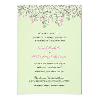 Blommigten virvlar runt gröna rosa 12,7 x 17,8 cm inbjudningskort