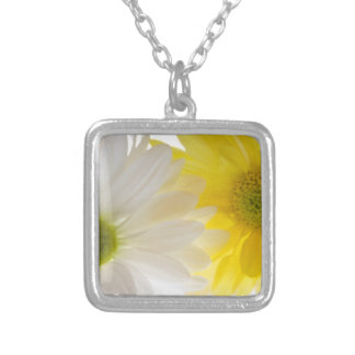 Blommigthalsband för två daisy silverpläterat halsband