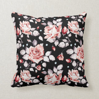 Blommigtsvart och rosor kudde