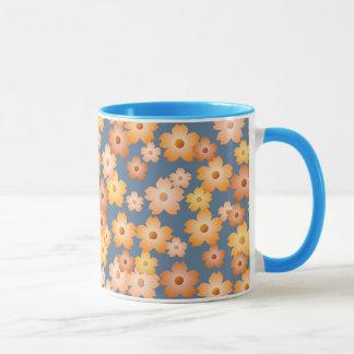Blommönster för blått för persikaorangegult