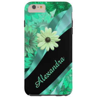 Blommönster för personligsötgrönt tough iPhone 6 plus skal
