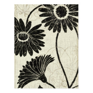 Blommönster i svartvitt vykort