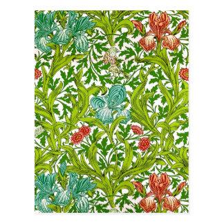 Blommönster William Morris för vintageIrisfågel Vykort