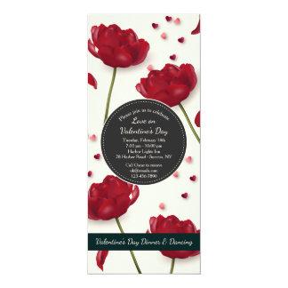 Blommor av bakgrund för kärlekinbjudankräm 10,2 x 23,5 cm inbjudningskort
