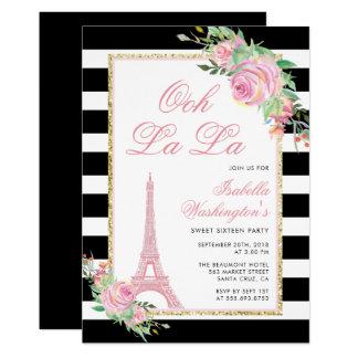 Blommor & Eiffel tornfödelsedagsfest inbjudan