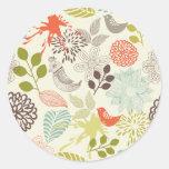 blommor för anf för klottervektorfåglar runda klistermärken