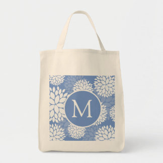 Blommor för blåttvitMonogram Mat Tygkasse