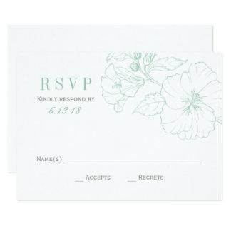 Blommor för hibiskus för Mint för bröllop OSAkort 8,9 X 12,7 Cm Inbjudningskort