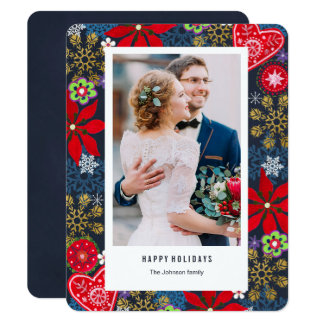Blommor för julhelgdag   & fotokort för snö   10,8 x 14 cm inbjudningskort