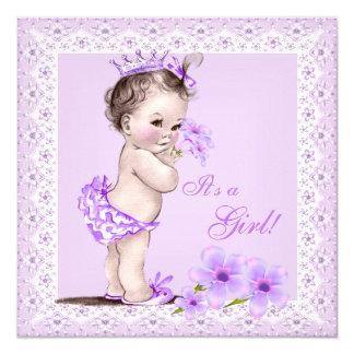Blommor för lavendel för vintagebaby showerflicka fyrkantigt 13,3 cm inbjudningskort