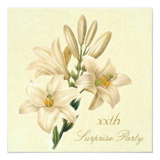 Blommor för lilja för vintage för fyrkantigt 13,3 cm inbjudningskort