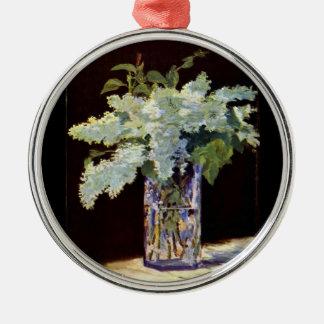 Blommor för lilor för Manet stillebenvit Julgransprydnad Metall